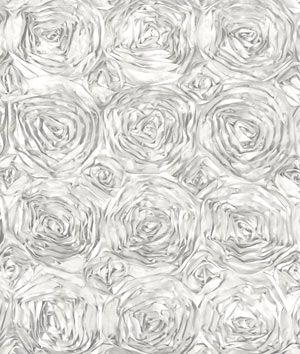White Rosette Satin Fabric