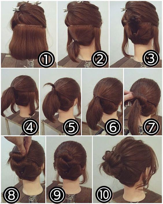Easy Bun Hairstyle for Short Hair | Makeup Mania  #UpdosforShortHair #updosforshorthaireasy