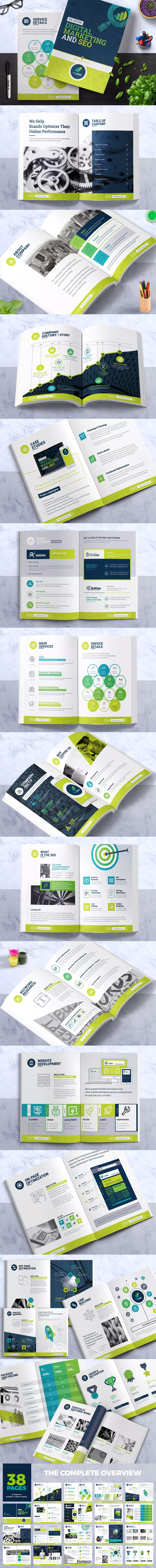 Bi-Fold Brochure Template for SEO (Search Engine) InDesign INDD
