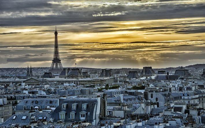 Lataa kuva Pariisi, sunset, Eiffel-Torni, Ile-de-France, HDR, Ranska