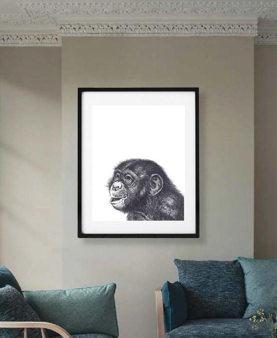Baby Animal Nursery Art, Monkey Print, Safari Nursery, Printable Large Poster, African Jungle, Black and White Modern Minimal, Baby Shower
