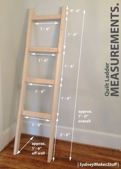 DIY Quilt Ladder - Measurements and Dimensions. | SydneyMakesStuff |
