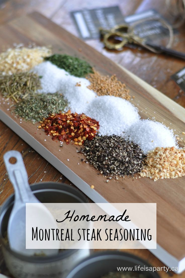 Homemade Montreal Steak Seasoning: Easy to make and delicious recipe, and free printable Father's Day gift labels.