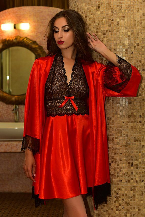 986ee3c4af Red nightgown and robe Peignoir set Bridal nightgown and robe Satin  peignoir Black lace robe Kimono