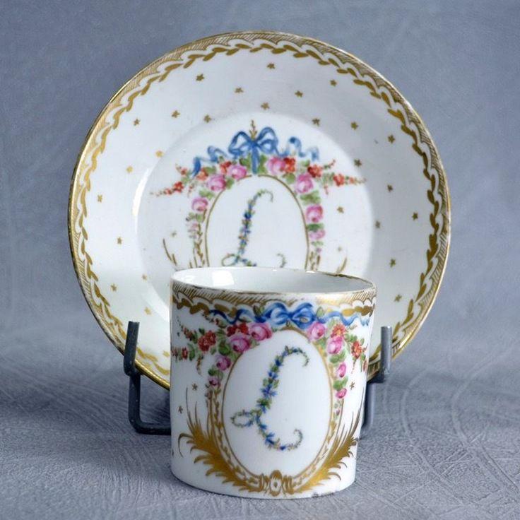 Paris Tasse Litron Porcelaine 18ème Monogramme Fleuri