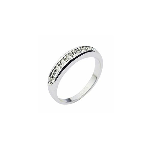 Elegant Silver Crystal Ring. 18K Platinum plated ring with long sleek row of swarovski crystal.