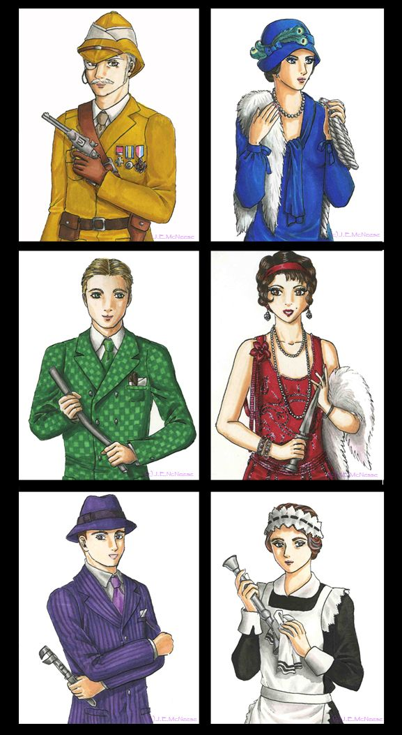 colonel mustard Miss peacock Mr. Green. Miss Scarlett, Professor Plum, and Mrs. White