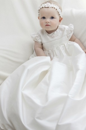Aurora Christening gown Click to see detail on bodice of ribbon flowers