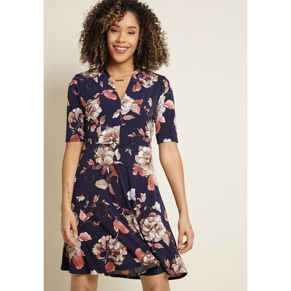 Warranted Wanderlust Floral Knit Dress ($59) ❤ liked on Polyvore featuring dresses, pink dress, navy blue floral dress, navy blue dress, navy blue a line dress and floral print dress