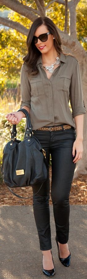 Spring or fall - street chic - olive chiffon shirt + black skinny pants + black heels & bag + leopard print belt