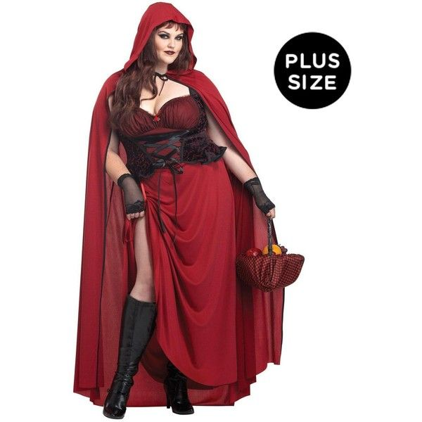 Dark Red Riding Hood Plus Size Costume (80 NZD) ❤ liked on Polyvore featuring costumes, halloween costumes, sexy gothic costumes, sexy plus size halloween costume, party halloween costumes, plus size costumes and plus size fairy costume