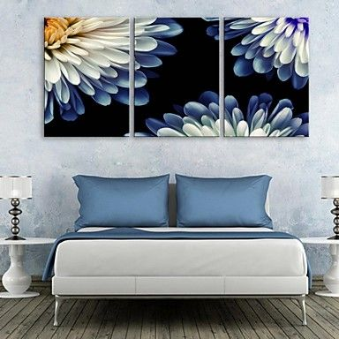 E-HOME® Stretched Canvas Art Chrysanthemum Decoration Painting Set of 3 – CAD $ 102.40