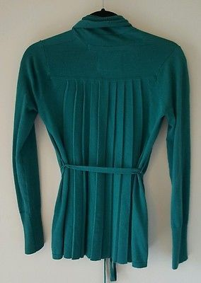 Angel of the North pleated back belted cardigan sweater XS green