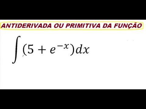 Exercício comentado, passo a passo, sobre como resolver uma antiderivada ou primitiva de uma função na integral indefinida. Técnicas de primitização e antiderivação. Vídeoaula do Curso de Cálculo Diferencial e Integral I.  ∫▒(5+e^(-x) )dx  https://youtu.be/MKvUVonJ2XQ