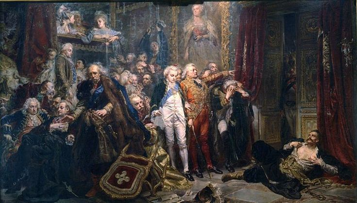 Rejtan - The Fall of Poland by Jan Matejko,1866..... Tadeusz Rejtan (lower right) in September 1773 tried to prevent the legalization of the first partition of Poland by preventing the members of Sejm from entering the chamber.