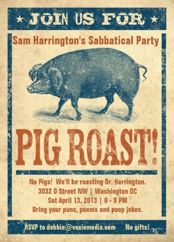 "invite to Sam's sabbatical party... what we called it before ""Gap Year After Sixty"""