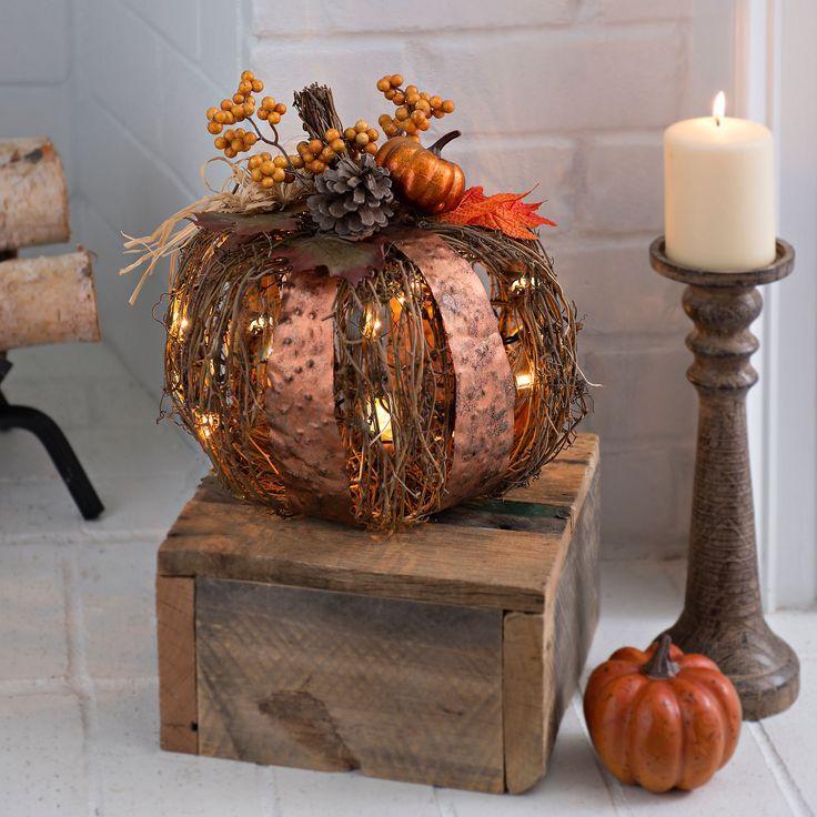 Pre Lit Metal And Rattan Pumpkin 12 In Kirklands Harvest Decorations Christmas Decorations Sale Fall Halloween Decor