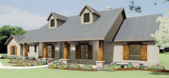 Texas Farm House Plan | 3,112 square foot (4 Bedroom) version