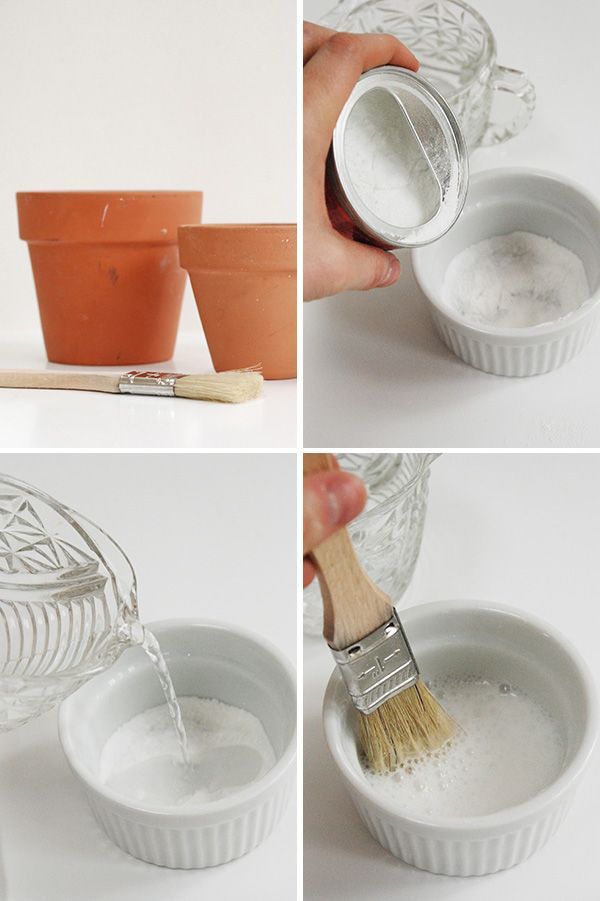 """DIY Aged Terra Cotta Pots using baking powder & water. You get an instant effect & no smelly milk mixture. You got my attention with the """"no smelly milk mixture"""""""