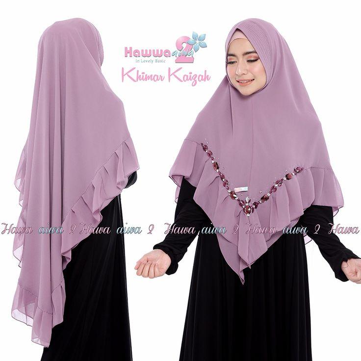 Khimar Kaizah by Hawwa Aiwa Jilbab Swarovsky Ceruty 2 Layer 001 Ungu Muda