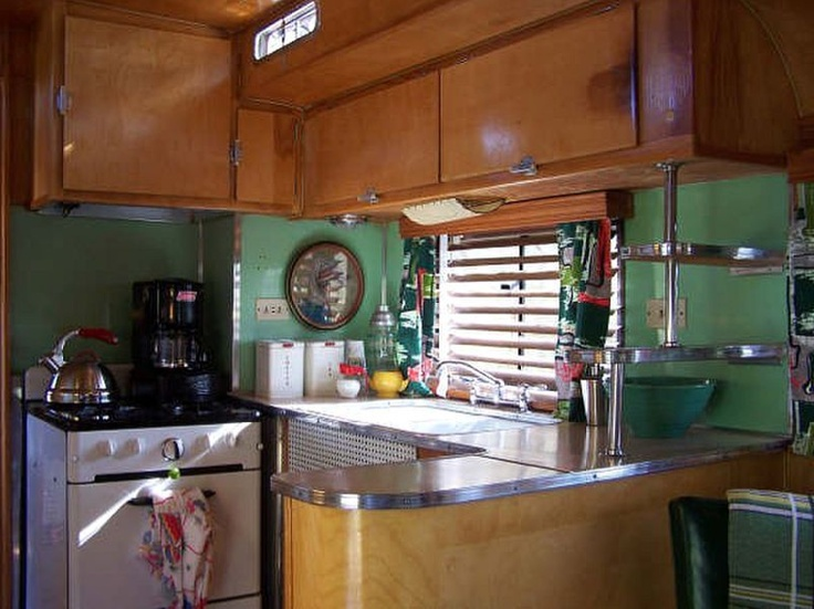 Interior of this fully restored 1950s Glider puts modern ...  |1950s Vintage Travel Trailers Inside