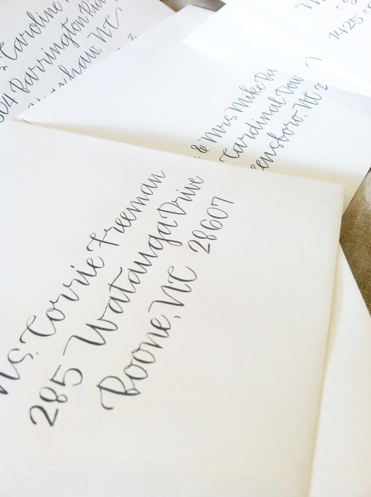 handwrite or print wedding invitation envelopes%0A Grey calligraphy wedding envelopes    Kimbrough Style  www hardinkcalligraphy com