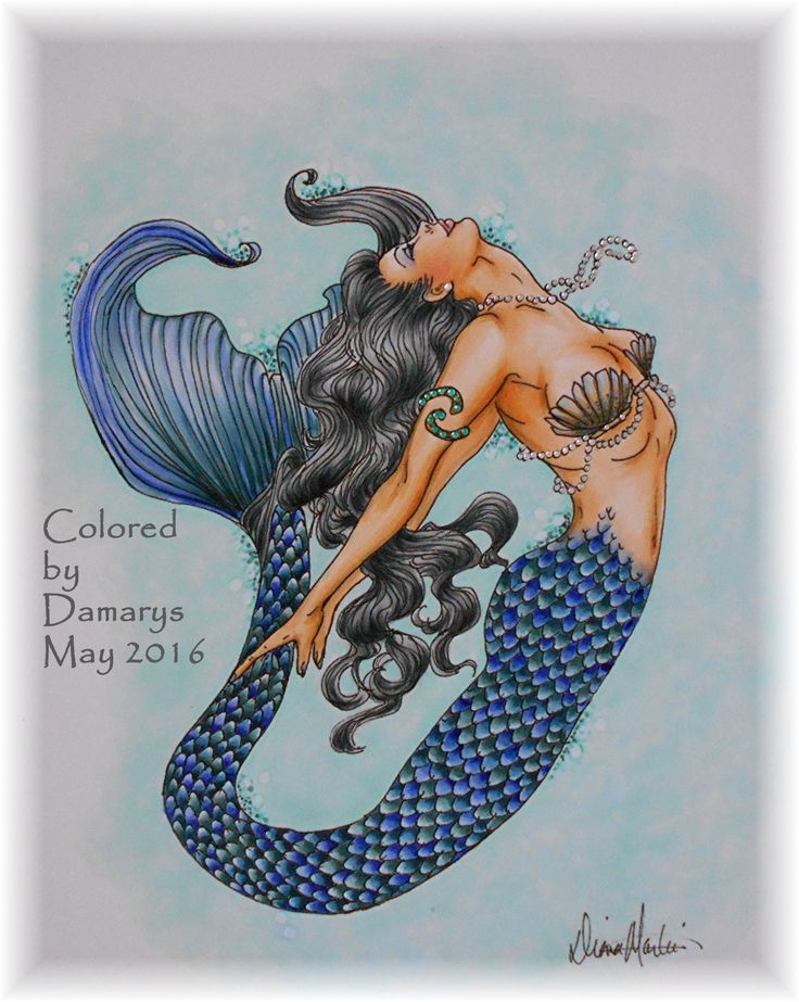 Mermaid designed by Diana Martin. Colored with Copic ...