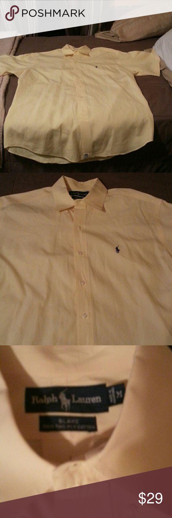 Short Sleeve Ralph Lauren Dress Shirt Fits close to a large. This shirt has only been worn 6-7 times. Polo by Ralph Lauren Shirts Dress Shirts