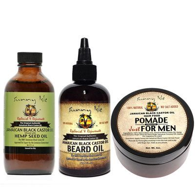 Sunny Isle Jamaican Black Castor Oil Beard Oil Pomade for Men 4oz and JBCO Hemp 4oz Combo