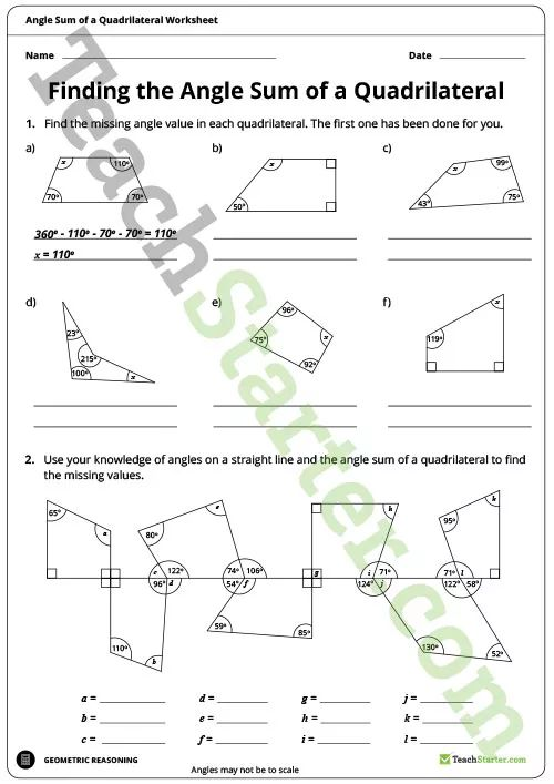 Finding the Angle Sum of a Quadrilateral Worksheet ...