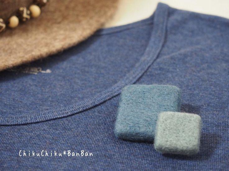 マルとシカクとサンカクと。 #シカク #ブルー #ブローチ #brooch  #羊毛 #chikuchikubanban