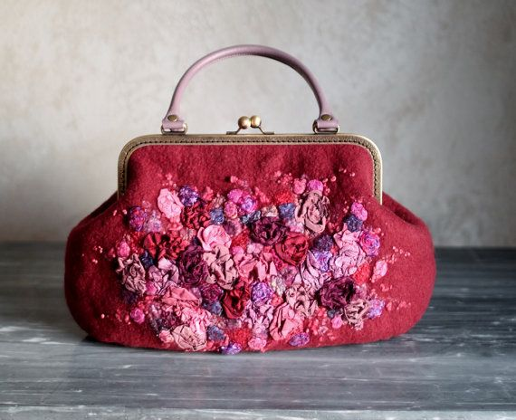 Felted dark red bag women floral clutch OOAK with violet leather handle and antique bronze frame retro style--looks like rose and purple flowers or roses