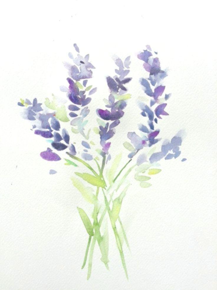 Aquarell Lavendel Blumenaquarell In 2020 Watercolor Pencil Art