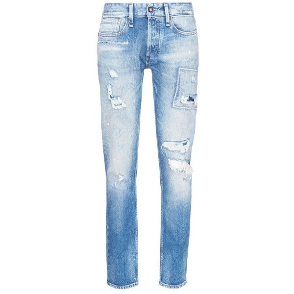 Denham 'Razor' ripped stonewash jeans ($330) ❤ liked on Polyvore featuring men's fashion, men's clothing, men's jeans, blue, mens stone wash jeans, mens patched jeans, mens frayed jeans, mens blue ripped jeans and mens stonewash jeans