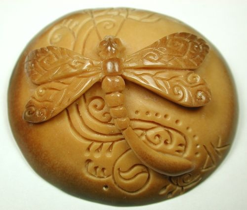 Hand Carved Ivory Button With Dimensional Dragonfly
