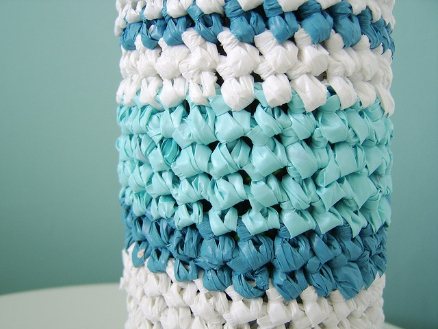 close-up of wine bottle cover, made with recycled plastic bags | Wine ...