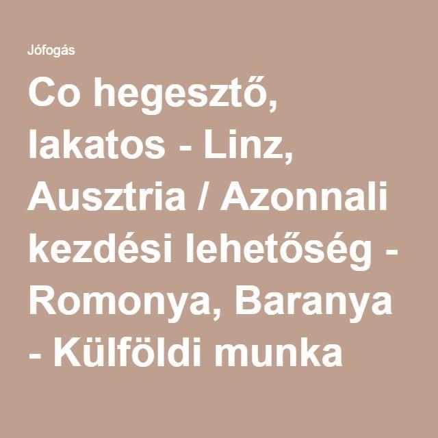Co hegesztő, lakatos - Linz, Ausztria / Azonnali kezdési lehetőség - Romonya, Baranya - Külföldi munka