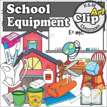 25 school equipment images in colored and line drawing version. Everything you�