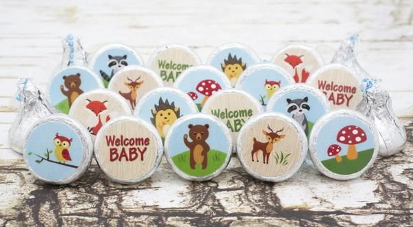 Woodland Animals Baby Shower Favor Stickers for Hershey Kisses (Set of 324)