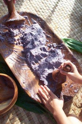 Hawaiian food, pounding taro root into POI, The old Hawaiian way. Tried poi February 2014. LOVE IT!!!