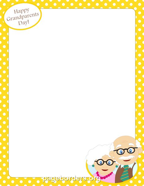 Printable Grandparents Day border. Free GIF, JPG, PDF, and PNG downloads at http://pageborders.org/download/grandparents-day-border/