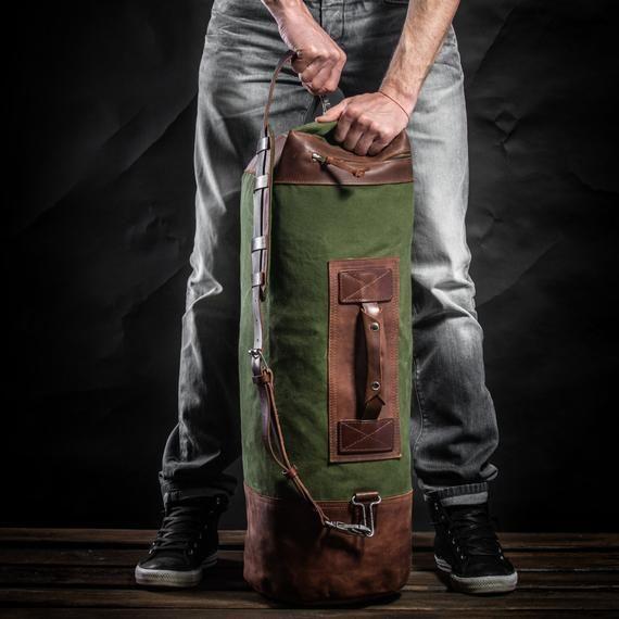 Photo of Duffel bag Travel bag Upcycled canvas bag Carryall Men's bag…