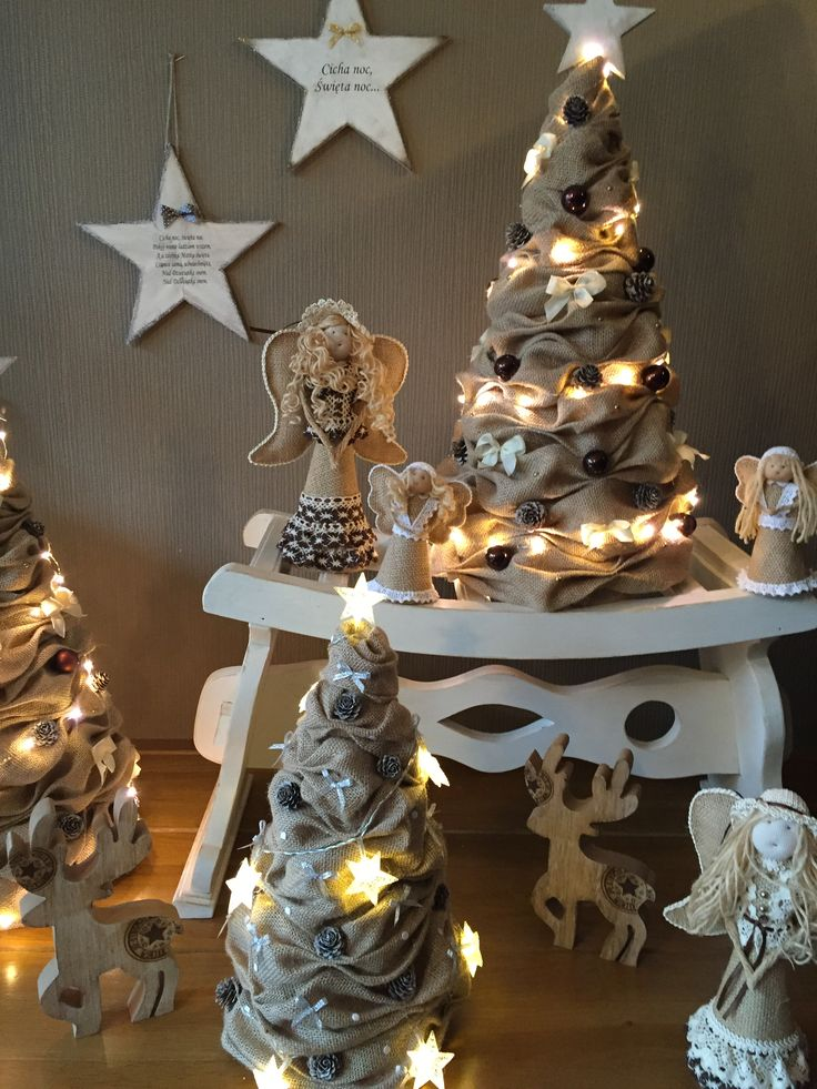 Kerstdecoratie #christmas#burlap#jute#kerst