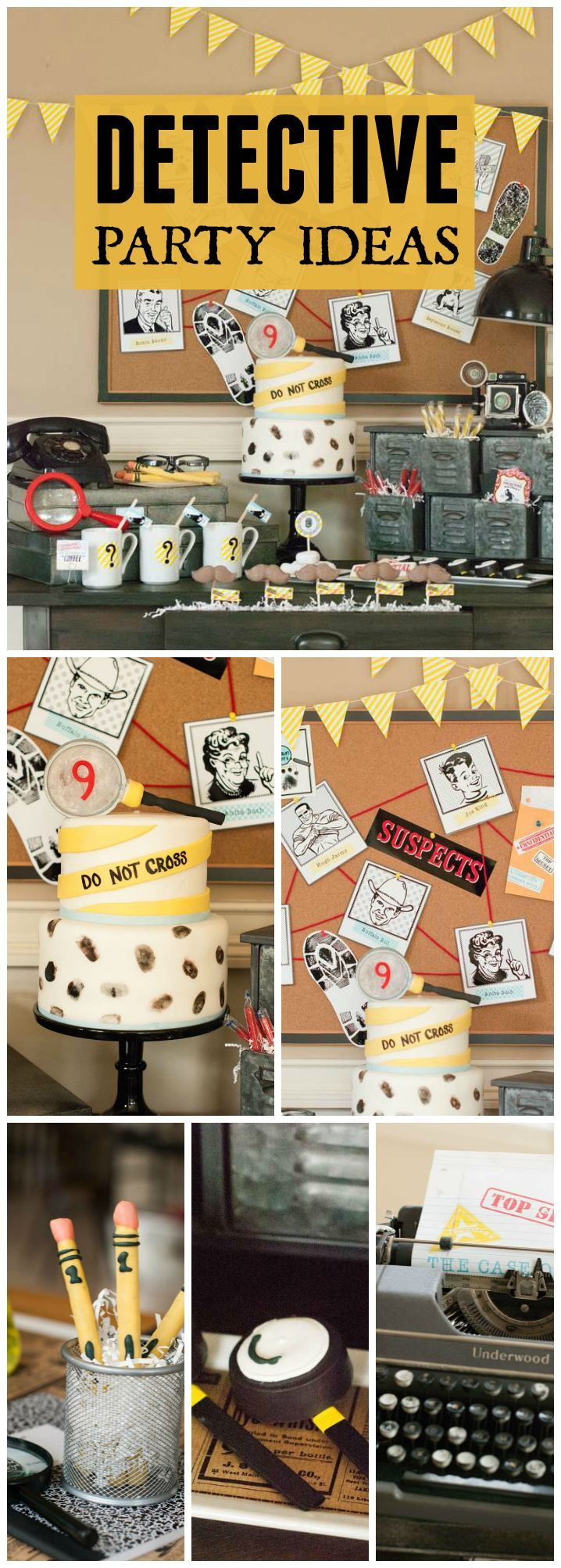 You have to see this vintage detective party with a case of the stolen party favors! See more party ideas at http://CatchMyParty.com!