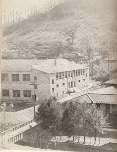 1956 - Hindman High School and gym, left side - I remember the trees and wall along Troublesome Creek in front of the school