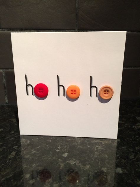 This listing is for one lovely button christmas card with the saying Ho Ho Ho included. The card is made using a luxury cut of 300gsm card
