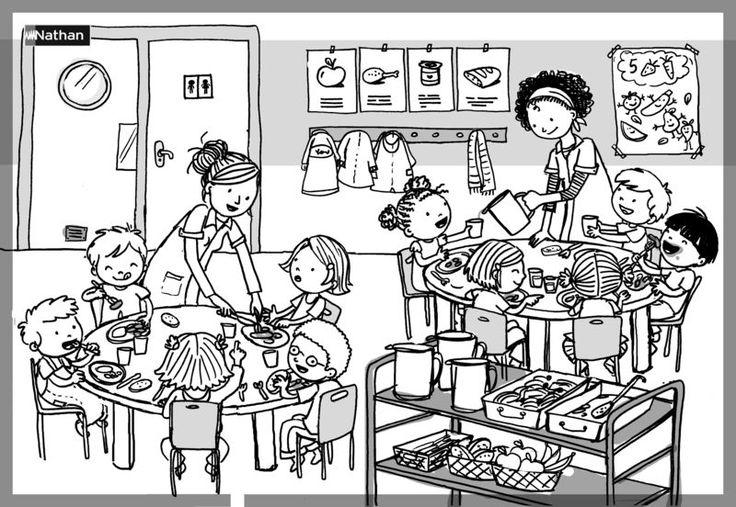 Des crayonnés pour une série de 4 puzzles pédagogiques que j'illustre pour Nathan: aujourd'hui, la cantine, et le coin lecture.