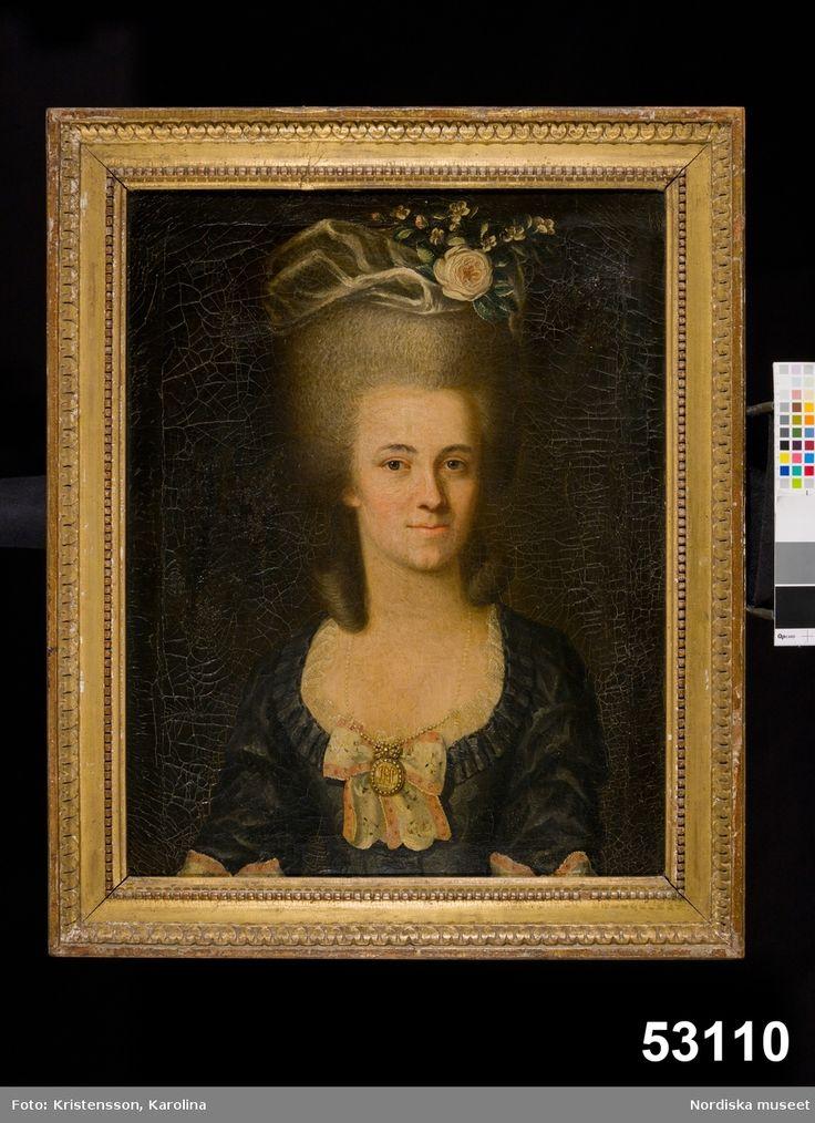 "Lona Lidman wearing ""svenska dräkten"" (the national costume). About 1780."