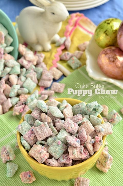 Cake Batter Puppy Chow snack mix recipe