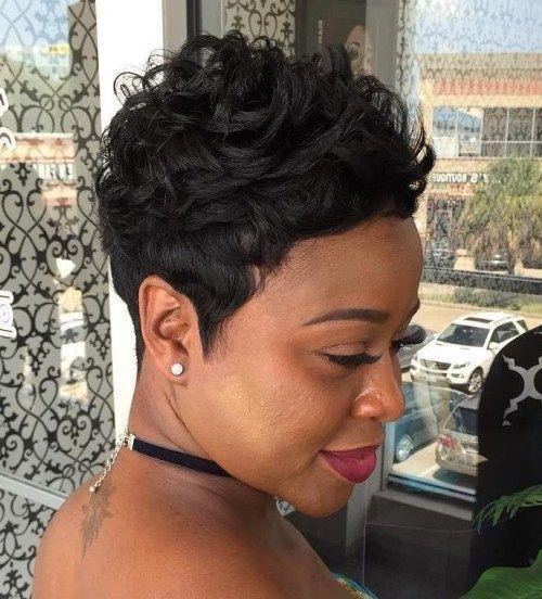 Curly Black Pixie